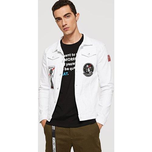 Blouson en jean brodé avec patch - SHEIN - Modalova