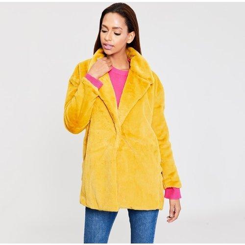 Manteau duveteux plain en fourrure - SHEIN - Modalova