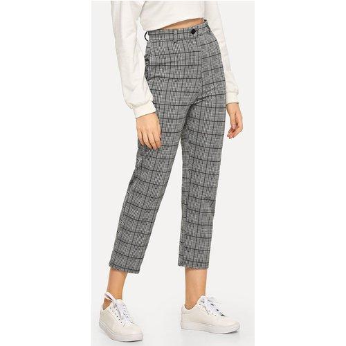 Pantalon à carreaux avec bouton - SHEIN - Modalova