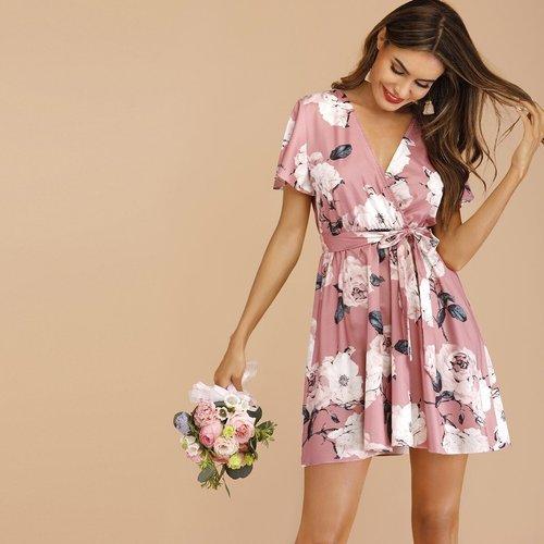 Robe cache-cœur ceinturée avec imprimé floral - SHEIN - Modalova