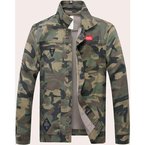 Veste en jean avec imprimé camouflage - SHEIN - Modalova