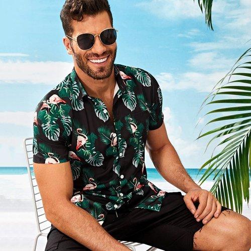Chemise avec imprimé tropical et flamant - SHEIN - Modalova