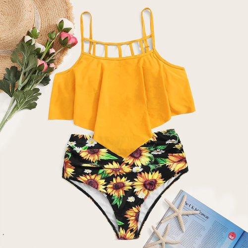 Bikini à imprimé tournesol - SHEIN - Modalova