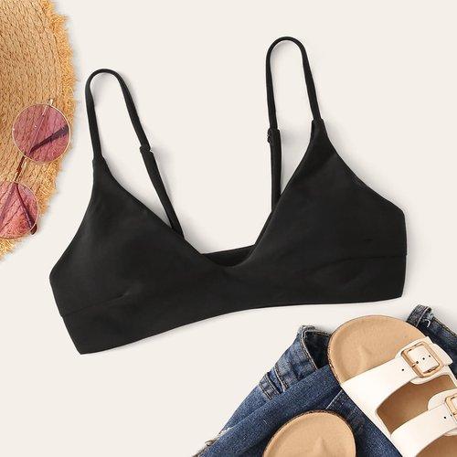Haut de bikini unicolore sans couture - SHEIN - Modalova