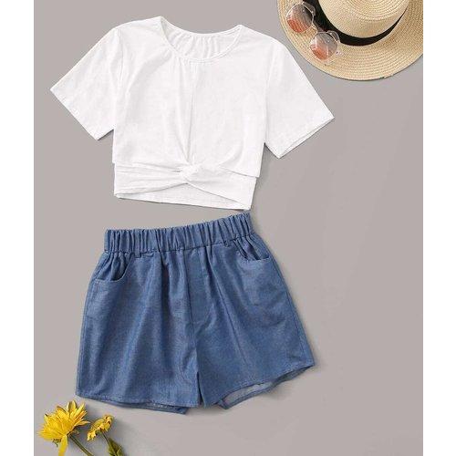 Ensemble short en jean et t-shirt à nœud - SHEIN - Modalova