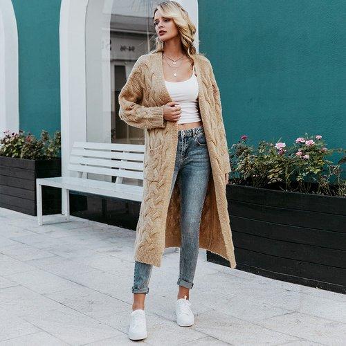 Gilet long en tricot torsadé - SHEIN - Modalova