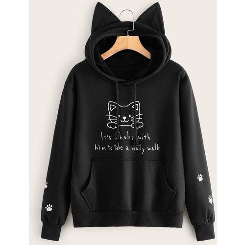 Pull à capuche avec imprimé chat et slogan - SHEIN - Modalova