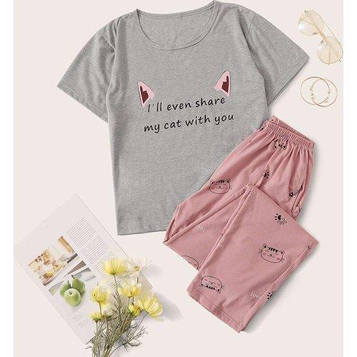 Ensemble de pyjama avec imprimé lettres et chat - SHEIN - Modalova