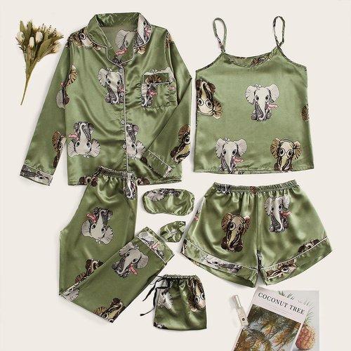 Ensemble de pyjama en satin à imprimé éléphant 7 pièces - SHEIN - Modalova