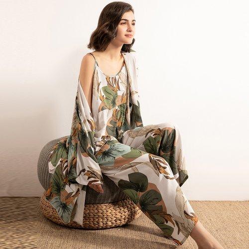 Ensemble de pyjama à imprimé feuille & Robe de chambre - SHEIN - Modalova