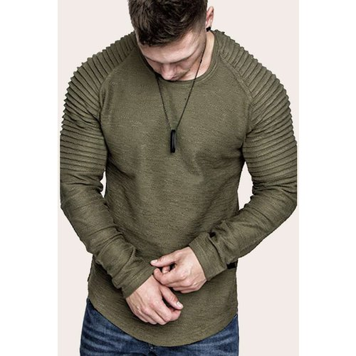 T-shirt unicolore avec plis - SHEIN - Modalova