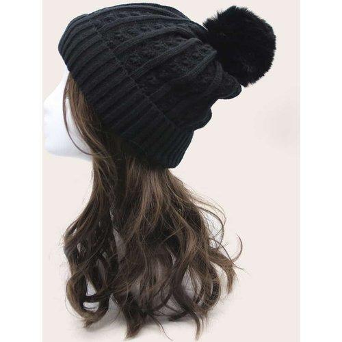 Bonnet à revers en tricot avec pompon - SHEIN - Modalova