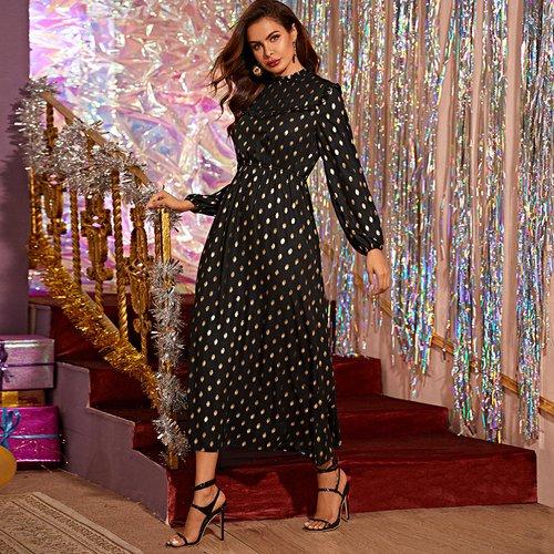 Robe trapèze à pois avec plis - SHEIN - Modalova