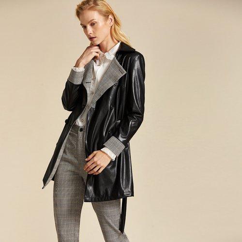 Manteau en similicuir avec carreaux - SHEIN - Modalova