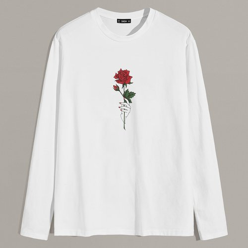 T-shirt avec imprimé rose - SHEIN - Modalova