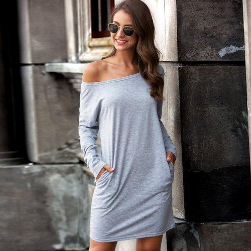 Robe t-shirt avec col bateau - SHEIN - Modalova