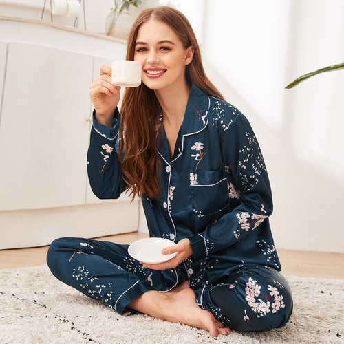 Ensemble de pyjama en satin à imprimé floral - SHEIN - Modalova