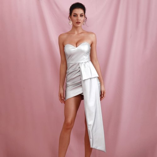 Robe bustier croisée effet cuir avec drape - SHEIN - Modalova