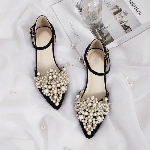 Chaussures plates à bride de cheville à bout pointu avec perles - SHEIN - Modalova