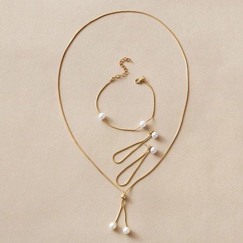 Pièces Collier avec fausse perle & Boucles d'oreilles & Bracelet - SHEIN - Modalova