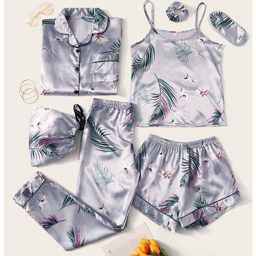 Pièces Ensemble de pyjama en satin avec imprimé tropical - SHEIN - Modalova