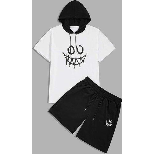Ensemble t-shirt à capuche à imprimé et short - SHEIN - Modalova