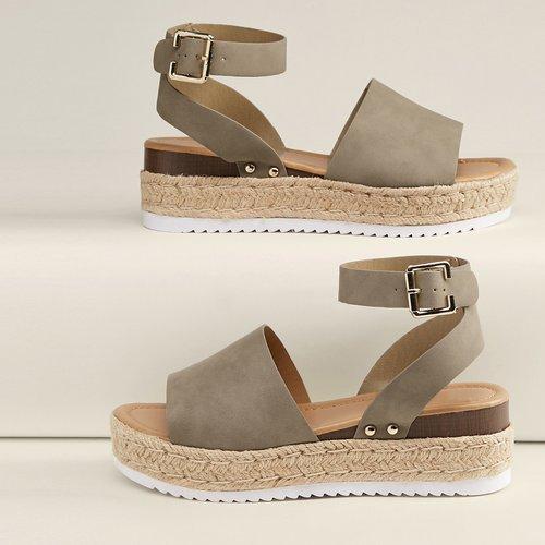 Sandales espadrilles à plates formes à bride de cheville - SHEIN - Modalova