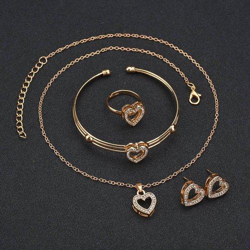 Pièces Collier & boucles d'oreilles & bracelet avec strass - SHEIN - Modalova