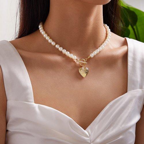 C Collier à breloque en forme de coeur avec perle - SHEIN - Modalova