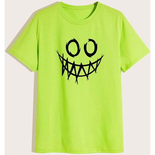 T-shirt fluo à imprimé dessin animé - SHEIN - Modalova
