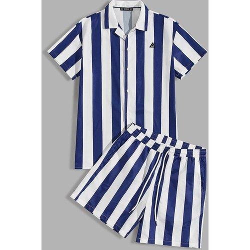 Ensemble short et blouse rayée bicolore avec pièce - SHEIN - Modalova