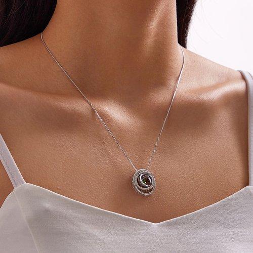 Pièce Collier avec pendentif rond rotatif et détail de gemme - SHEIN - Modalova
