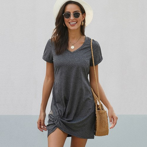 Robe t-shirt avec nœud - SHEIN - Modalova