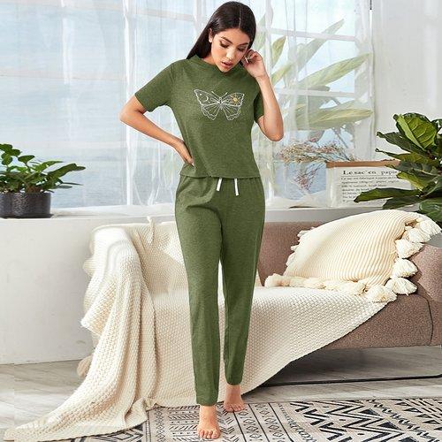 Ensemble détente t-shirt & pantalon - SHEIN - Modalova