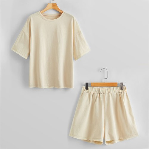 Ensemble t-shirt & short unicolores - SHEIN - Modalova