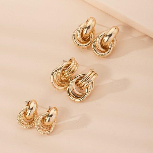 Paires Boucles d'oreilles texturées - SHEIN - Modalova