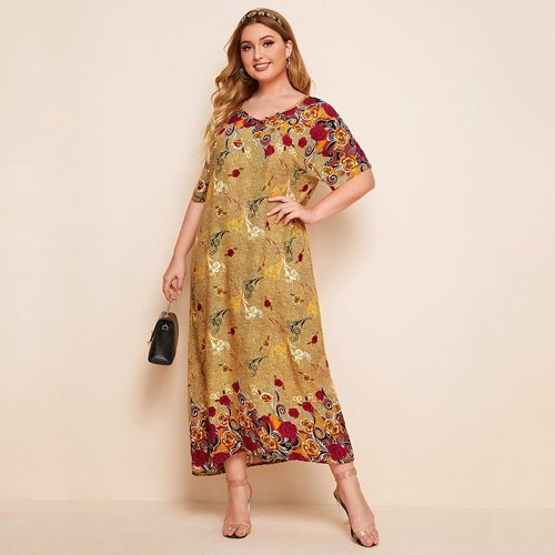Robe tunique longue à imprimé floral - SHEIN - Modalova