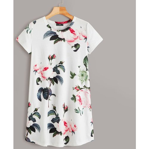 Robe t-shirt fleurie - SHEIN - Modalova