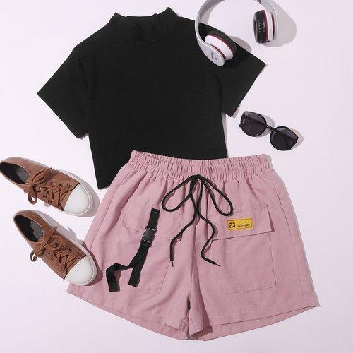 T-shirt unicolore & short - SHEIN - Modalova