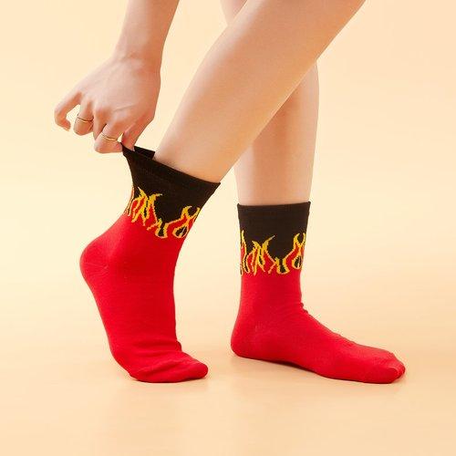 Chaussettes à motif feu - SHEIN - Modalova