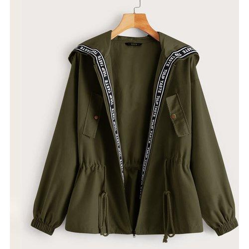 Veste à capuche à imprimé avec cordon à la taille - SHEIN - Modalova