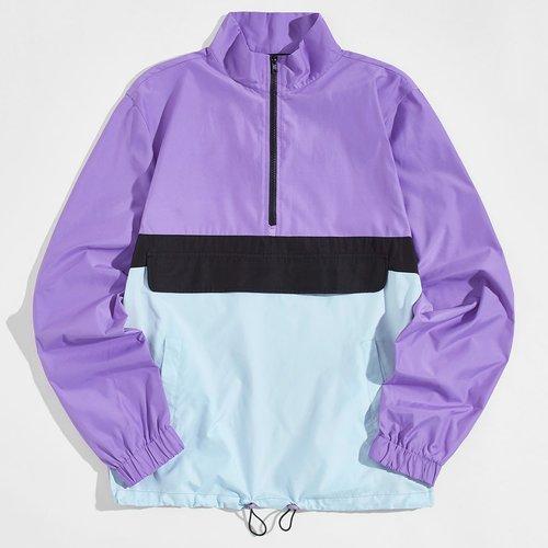Veste zippée avec blocs de couleurs - SHEIN - Modalova