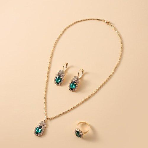 Collier à ovale & Boucles d'oreilles & Bague - SHEIN - Modalova