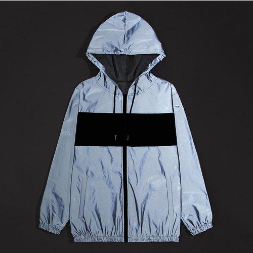 Veste à capuche avec blocs de couleurs et zip - SHEIN - Modalova