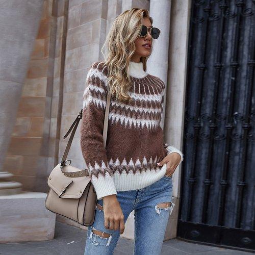 Pull en tricot fair isle - SHEIN - Modalova