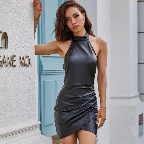 Robe croisée en cuir PU - SHEIN - Modalova