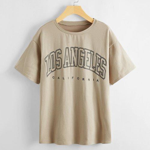 T-shirt long à motif lettre - SHEIN - Modalova
