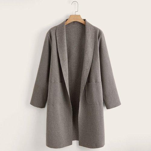 Manteau à carreaux avec col châle et poches - SHEIN - Modalova