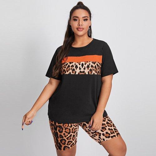 T-shirt léopard & Short cycliste - SHEIN - Modalova
