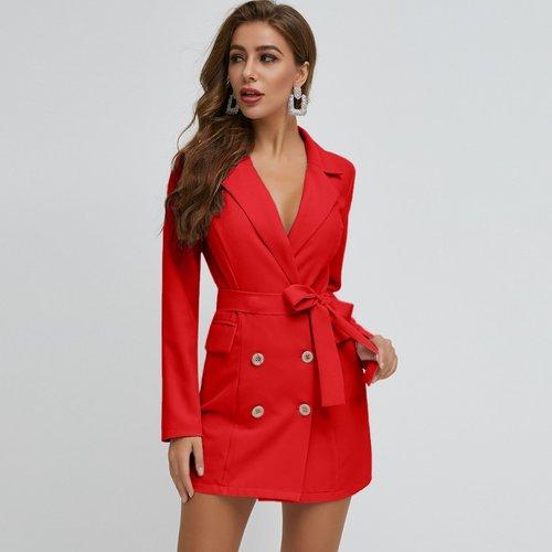 Robe blazer ceinturée avec boutons - SHEIN - Modalova